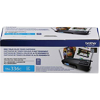 Cartouche de toner Brother TN336 Cyan (3500 pages)