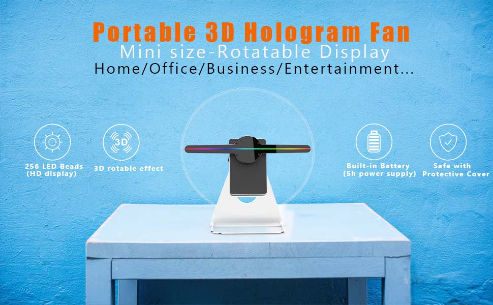 30CM or 12 INCH 3D Hologram Fan Holographic Business Display Projector,512P HD Video Advertising Projector Fan for Shops Office Home