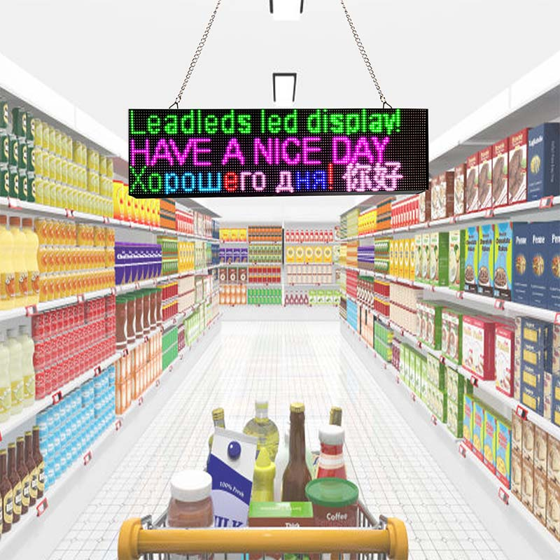 Leadleds Full Color WiFi Programmable Led Message Board 52cm Smart Business Banners 1-4 Lines Display