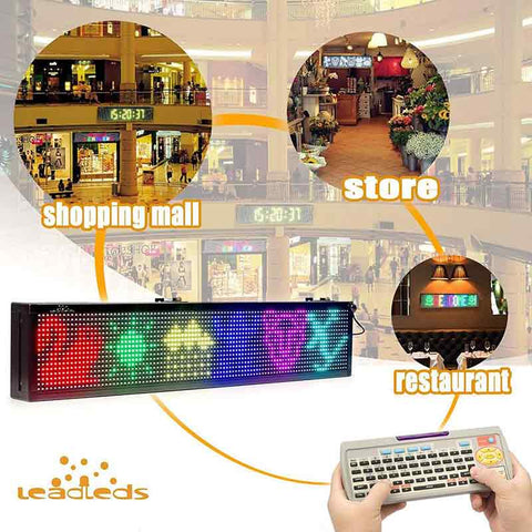 Leadleds Remote Led Display Scrolling Multicolored Message Board for Business, 30 by 6 in