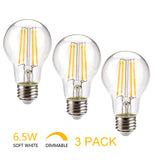 UNTCENT A19 Dimmable Led Bulb Long Filament 810LM 3000K Warm White 6.5W Equal 70W Incandescent