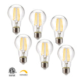 Leadleds A19 Dimmable Led Bulb Long Filament 810LM 3000K Warm White 6.5W Equal 70W Incandescent - Leadleds