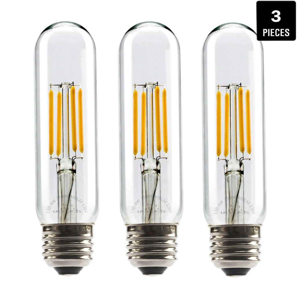 Leadleds LED Edison Bulb 40W Equivalent Non Dimmable E26 LED Lamp T10 Tubular 2700K Neat Warm White - Leadleds