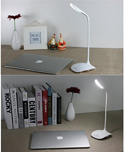 Leadleds Reading Lights Table Lamp Rechargeable Flexible Dimmable 3 Levels Brightness, White - Leadleds