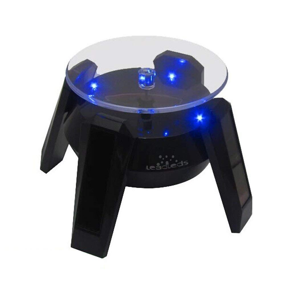 Leadleds Exquisite New Solar Powered Display Stand Rotating Turntable with Blue Light - Leadleds