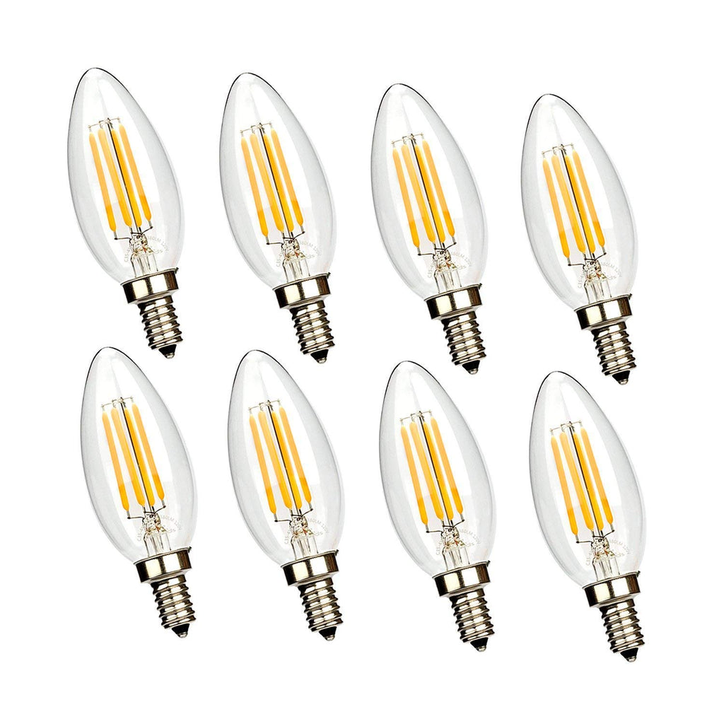 Leadleds Candelabra LED Bulb Dimmable 4W E12 Candle Base LED Chandelier B11 Bulb 2700k, UL Listed - Leadleds