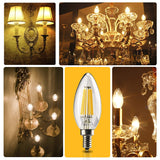 Leadleds 6w Chandeliers LED Bulb Dimmable 60W Equivalent E12 Candelabra Bulb 2700k, UL Listed - Leadleds