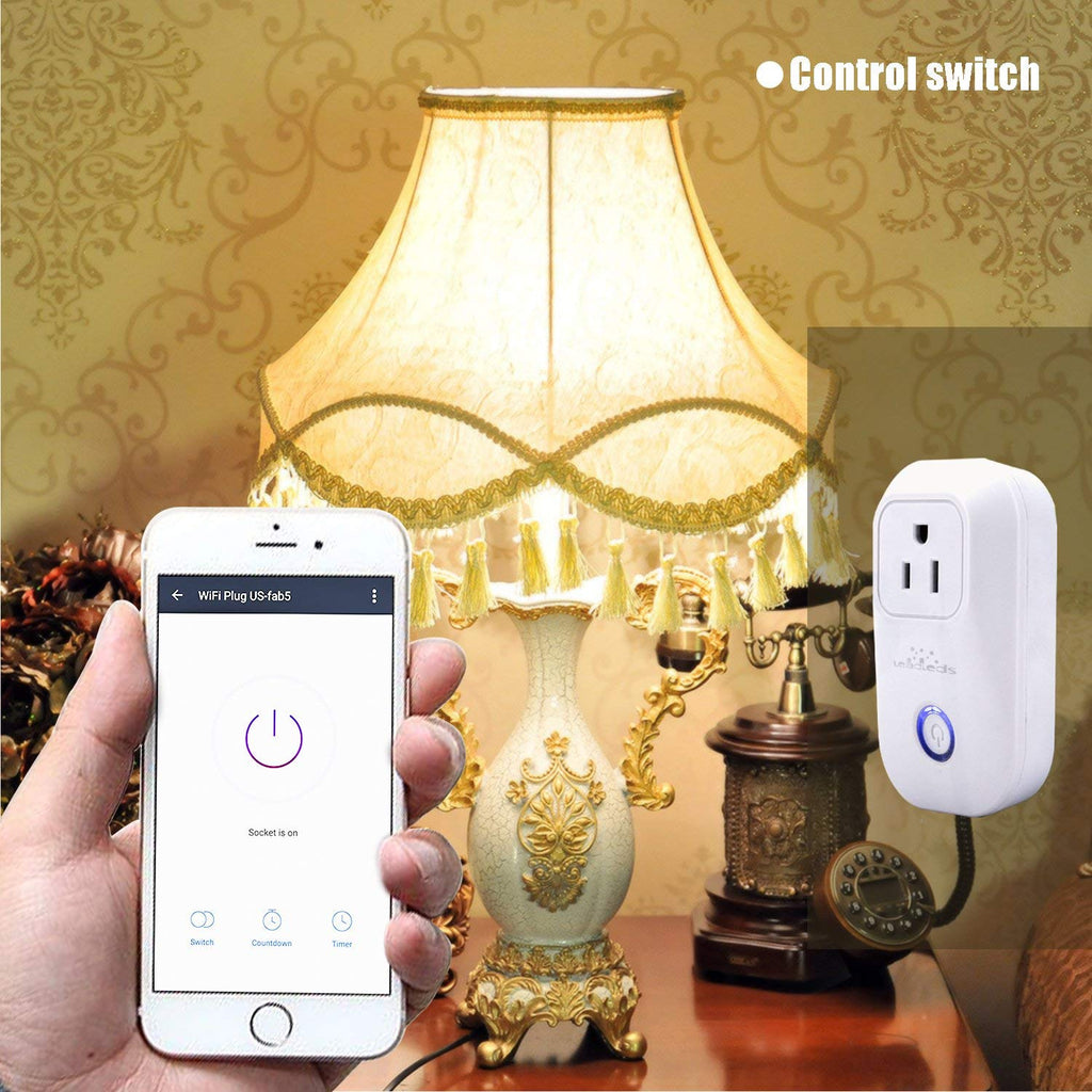 Leadleds Wi-Fi Smart Socket Outlet US Plug, Turn ON/OFF Electronics from Anywhere, Works with Smart Phone, UL Listed - Leadleds