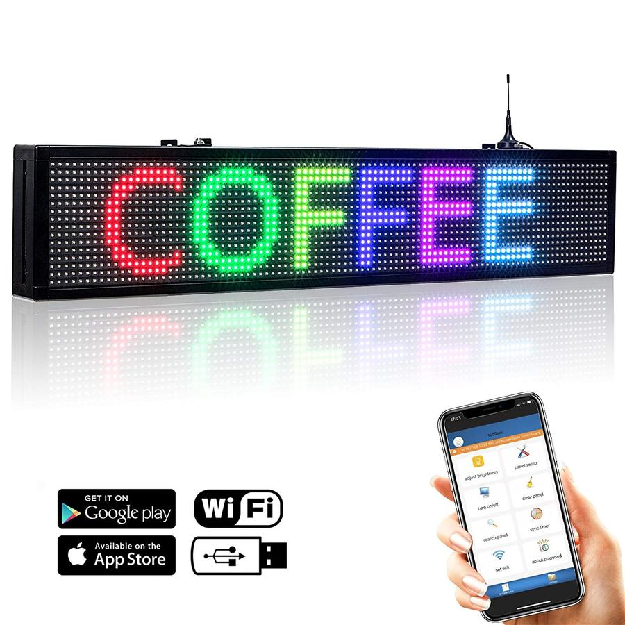 30x6 inches Led Sign for Car Rear Window Usage by Phone Easy Program, Multi Color - Leadleds