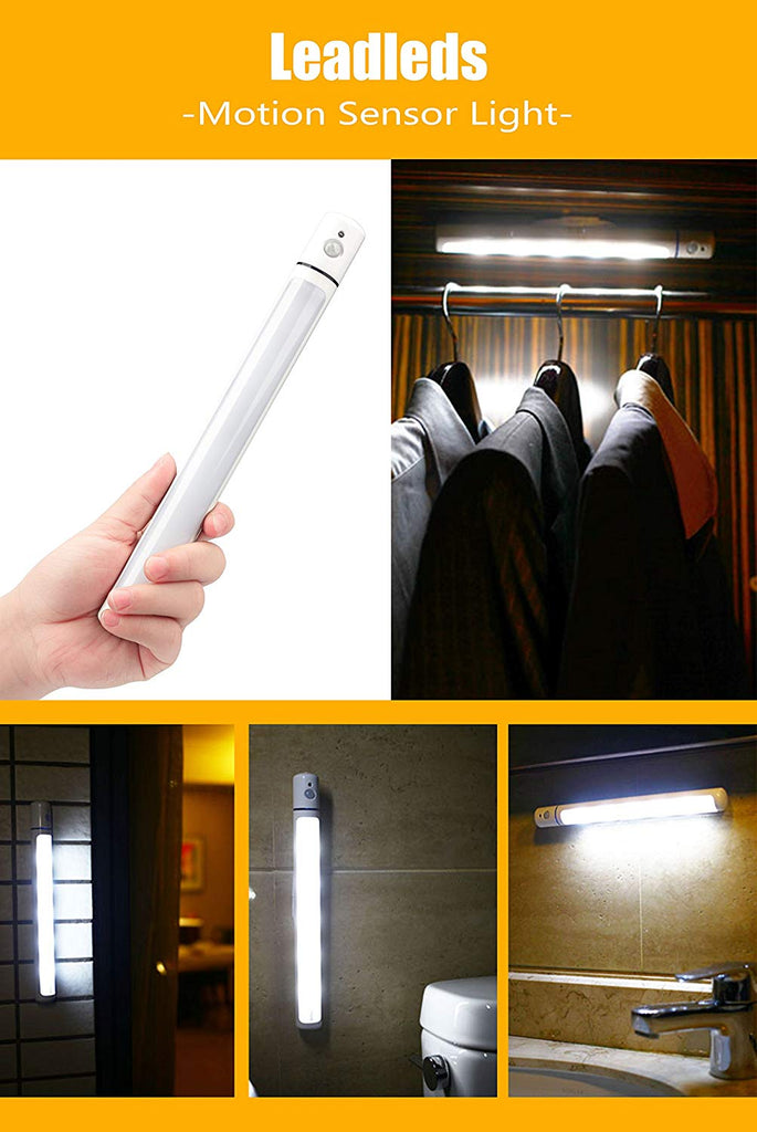 Leadleds 5-LED Motion Sensor Light Battery Operated Closet Light With Magnetic Strip