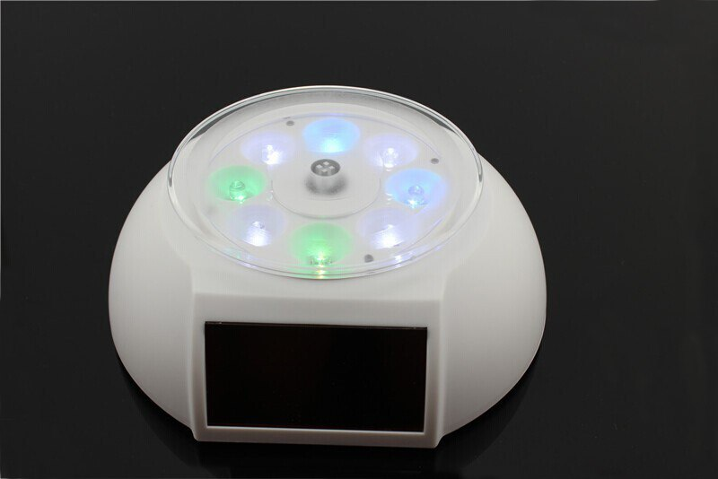 Colorful Solar Powered Jewelry Phone Rotating Display Stand Turn Table with LED Light - Leadleds