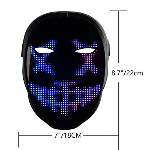Leadleds Led Smart Mask Bluetooth Programmable Face Mask Automatic Induction Switch Luminous Mask for Parties Costumes Cosplay