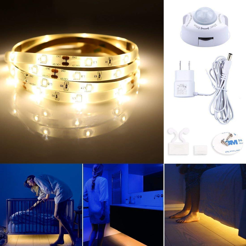 Leadleds Motion Activated Bed Light 4ft LED Strip with Motion Sensor and Power Adapter(Warm Soft Glow) - Leadleds