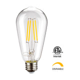 Leadleds ST21 Dimmable LED Filament Bulb 810 Lumens E26 3000K, 6.5W = 75W Incandescent Bulb - Leadleds
