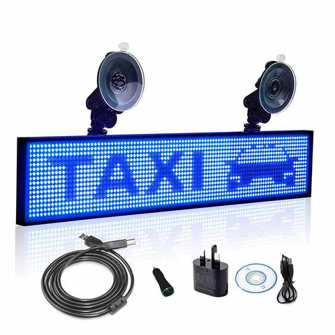 Leadleds P5 Wifi Led Car Sign 12V Display Board Scrolling Message by phone Programmable, Blue - Leadleds