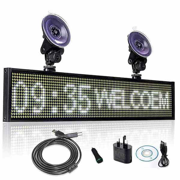 Hot 12V P5mm SMD LED Signs 50cm white Bright Digital Programmable Scrolling Ad Message Display board / Business Tools +2 sucker - Leadleds