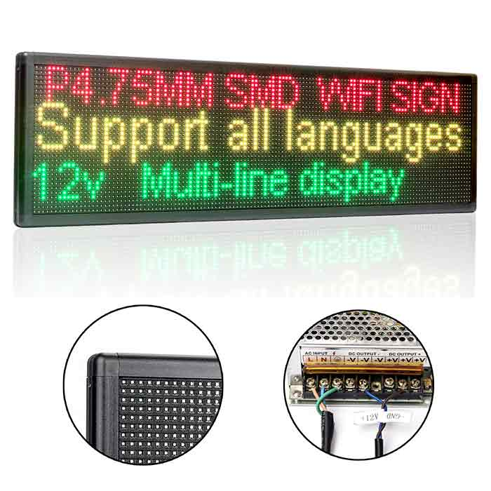 Leadleds P4.75 Wifi Led Sign Programmable by Phone Tablet for Advertising Notice, 3 Colors