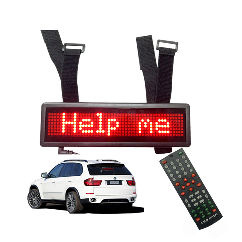 Leadleds Remote Led Car Sign Scrolling Multilingual Nylon Straps Led Jeep Sign Rechargeable for Rearview Mirror