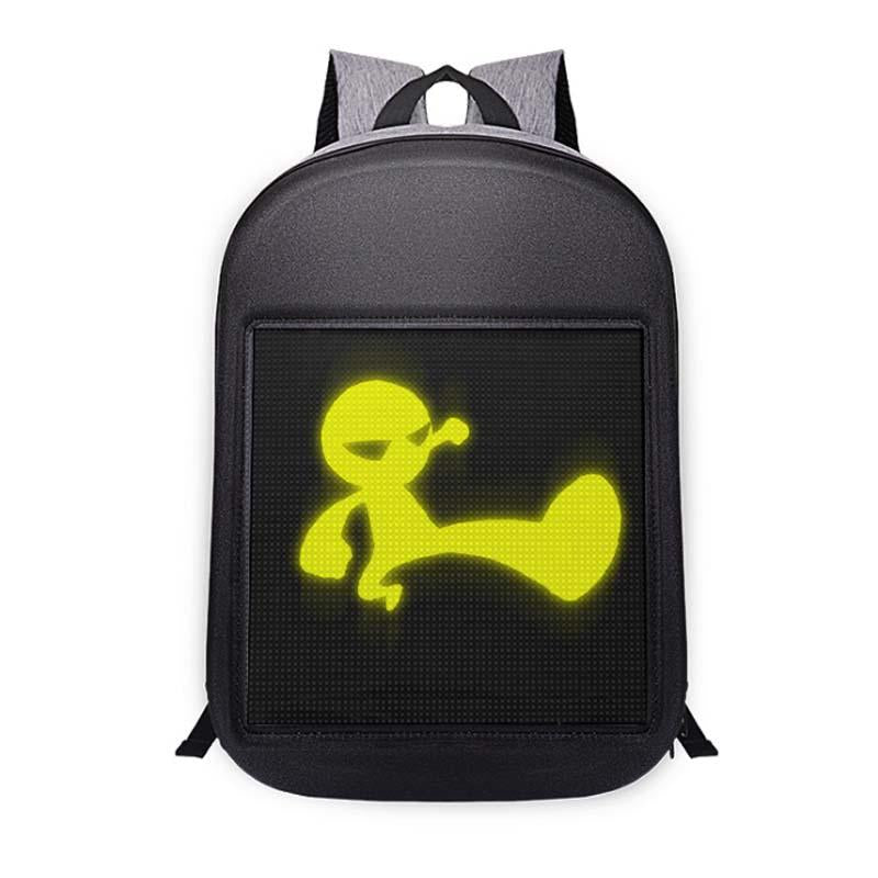 Smart Led Backpack Dynamic Backpack Shoulder Bag with Full Color Advertising for Boys Girls Gift, Black
