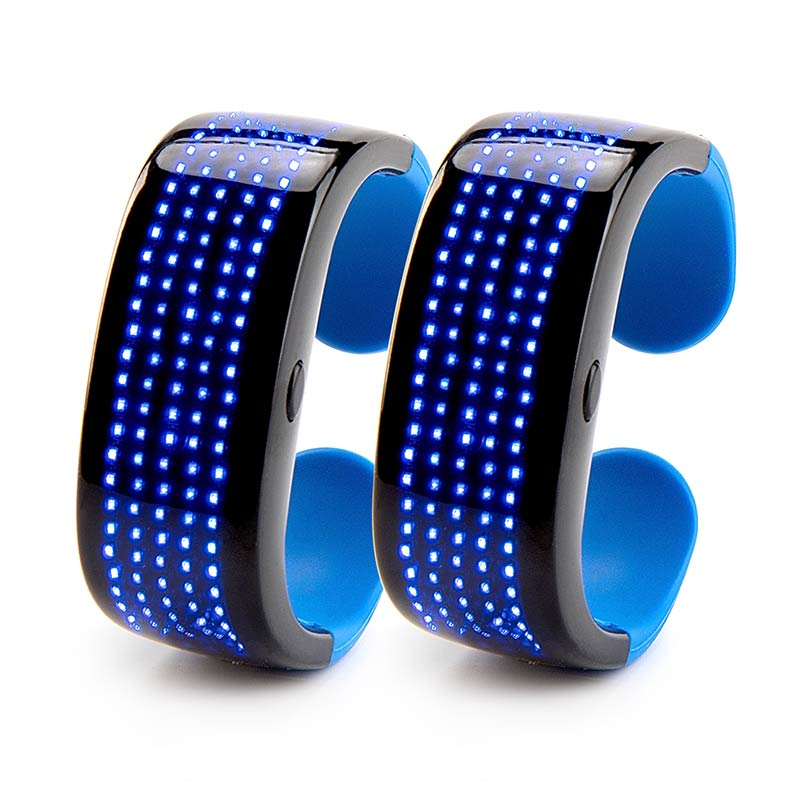 Leadleds LED Bracelet 9 Patterns Flashing Display for Running, Cycling, Party, Bar, EMD, 2-Pack