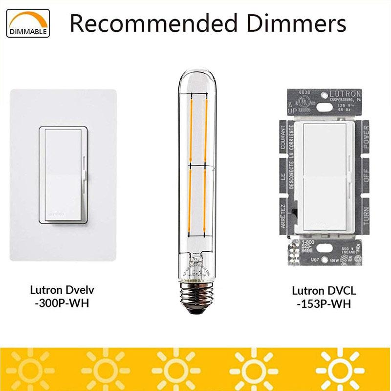 "UNTCENT 6W Edison Bulb Vintage 7.2"" Long Tubular Night Light Bulb Dimmable 3000K Neat Warm White"