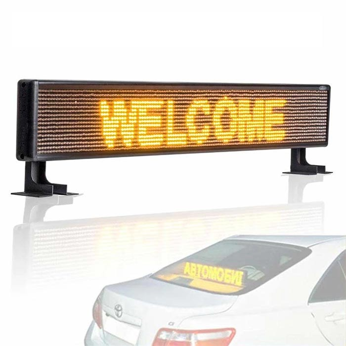 Car Rear Window Led Sign Electronic Banner Amber Message with 9FT Cable, DC9v-36v