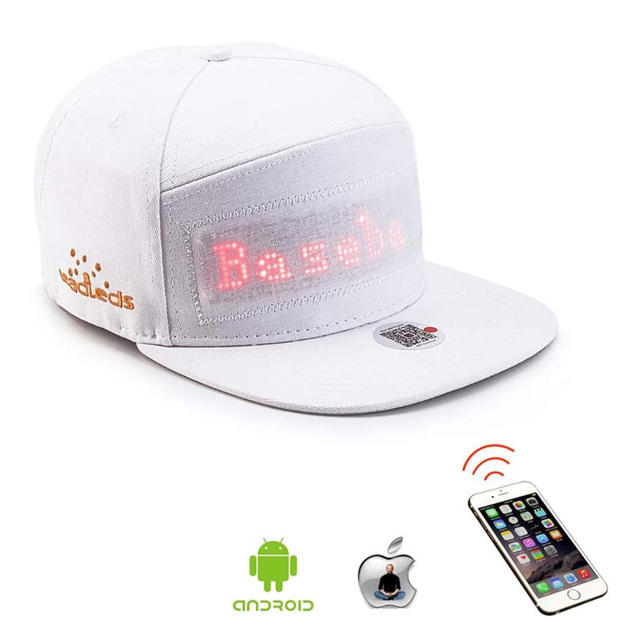 Leadleds Camping Led Hat Scrolling Message Display for Hip Hop Dance Party Golf Fishing, White Hat Red LED