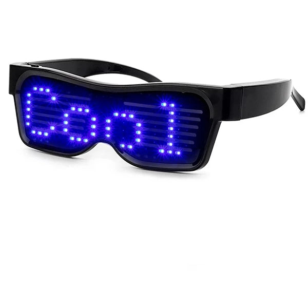 Leadleds - Customizable Bluetooth LED Glasses for Raves, Festivals, Fun, Parties, Sports, Costumes, EDM, Flashing - Display Messages, Animation, Drawings!