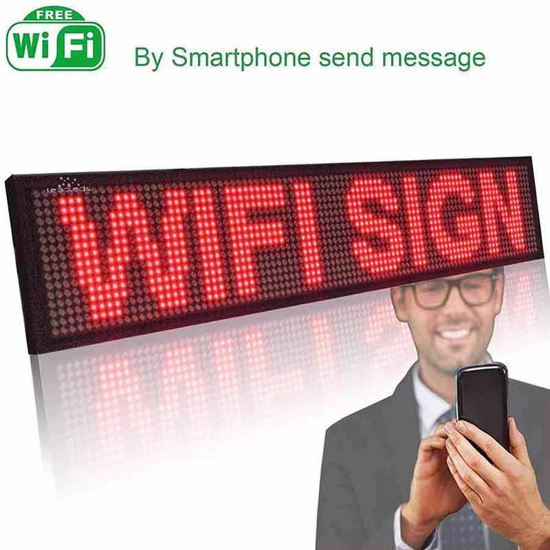 Leadleds P5 Wifi Scrolling Led Sign Message Board Working with Smartphone Tablet Android iOS