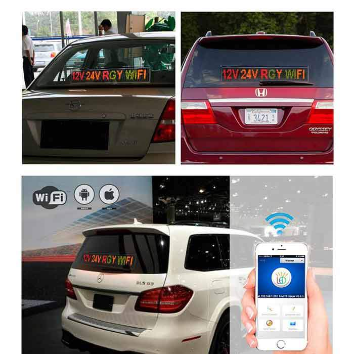 ios And Android Wifi Remote Programmable Advertising LED Display Board for Car bus truck shop Busines Green 12V 24V 110-220V - Leadleds