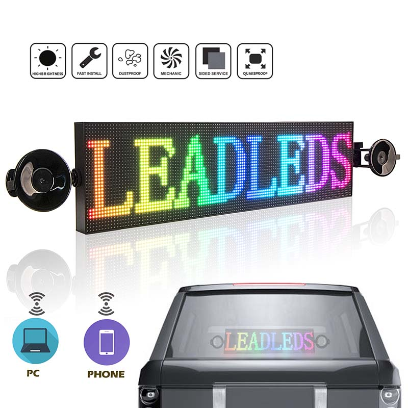 20in Car Sign Full Color Led Advertising Board WiFi Led Sign Picture Video Text Display Screen Wireless RGB Matrix, DC9-36V