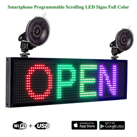 DC12v Full Color LED Display Programmable Scrolling Message Board Control by IOS Android Phone
