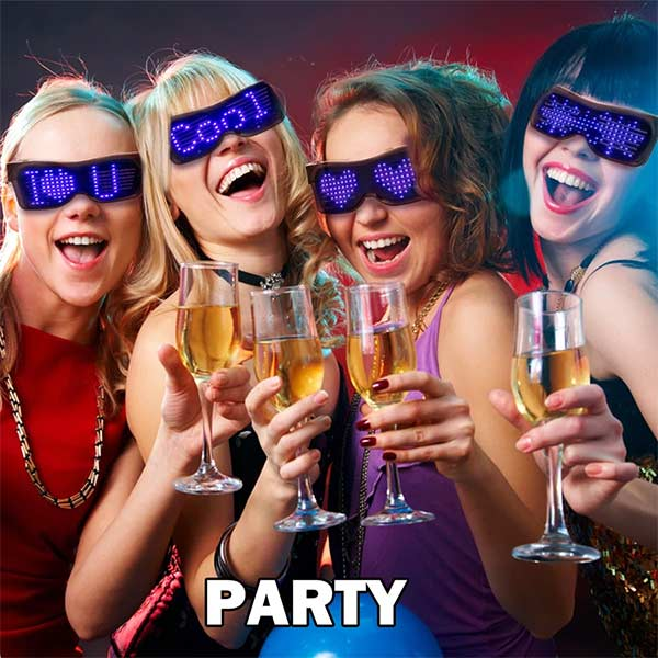 Customizable Bluetooth LED Glasses for Raves, Festivals, Fun, Parties, Sports, Costumes, EDM, Flashing - Display Messages, Animation, Drawings!