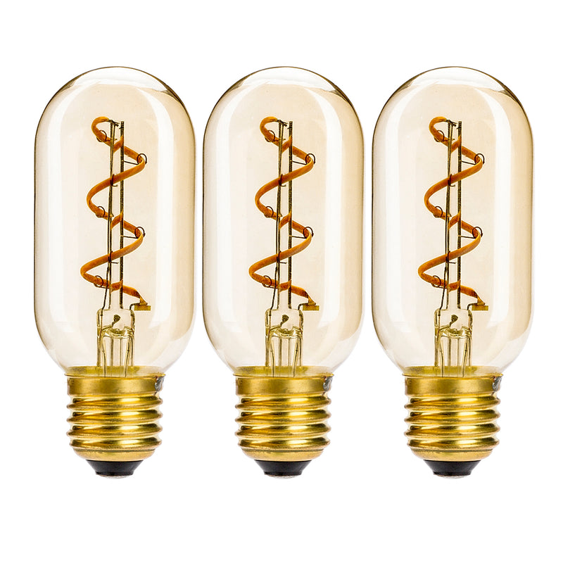 Leadleds T14/T45 Tubular LED Bulb Edison Style with Amber Glass 3W E26 Non Dimmable,Warm White - Leadleds