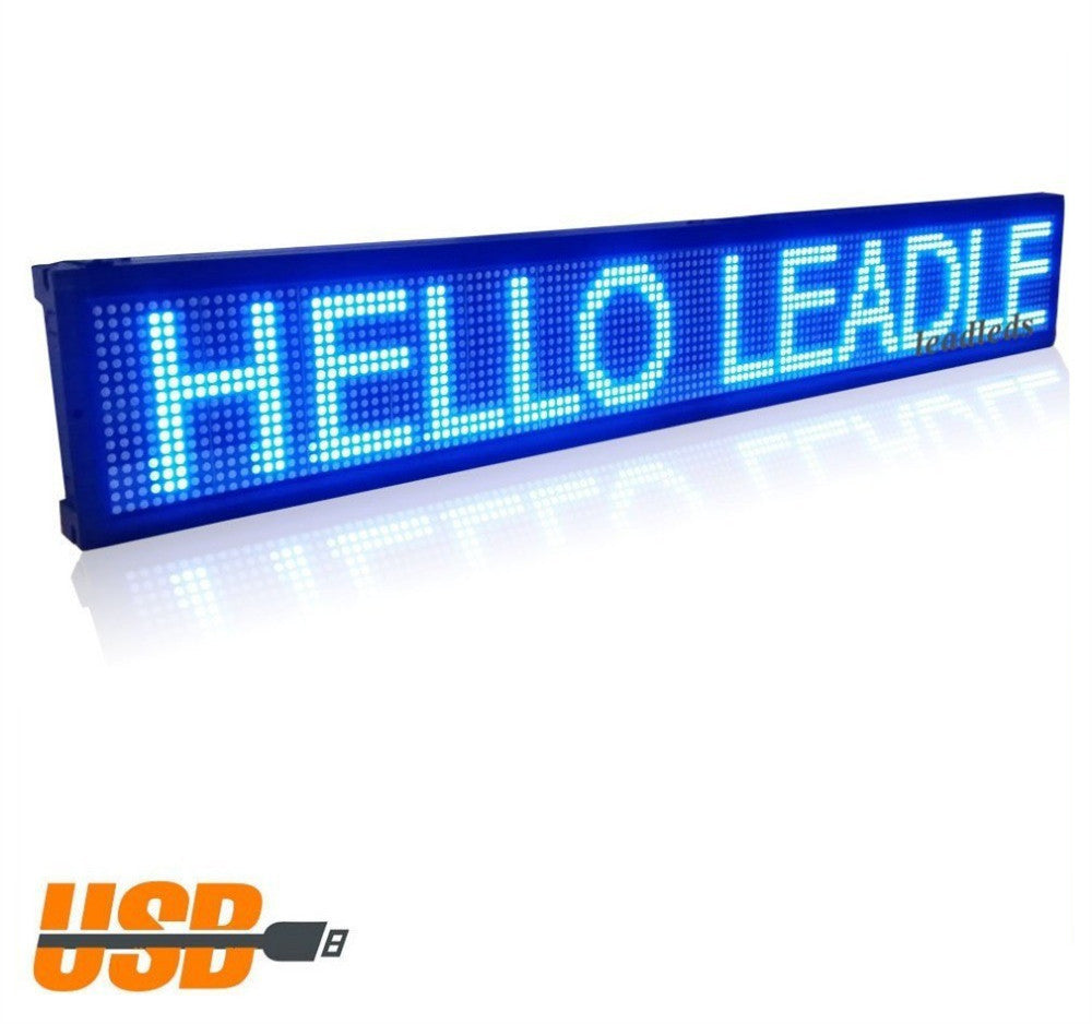 USB Programmable Advertising LED Sign Board Blue Message Display Board _ Leadleds