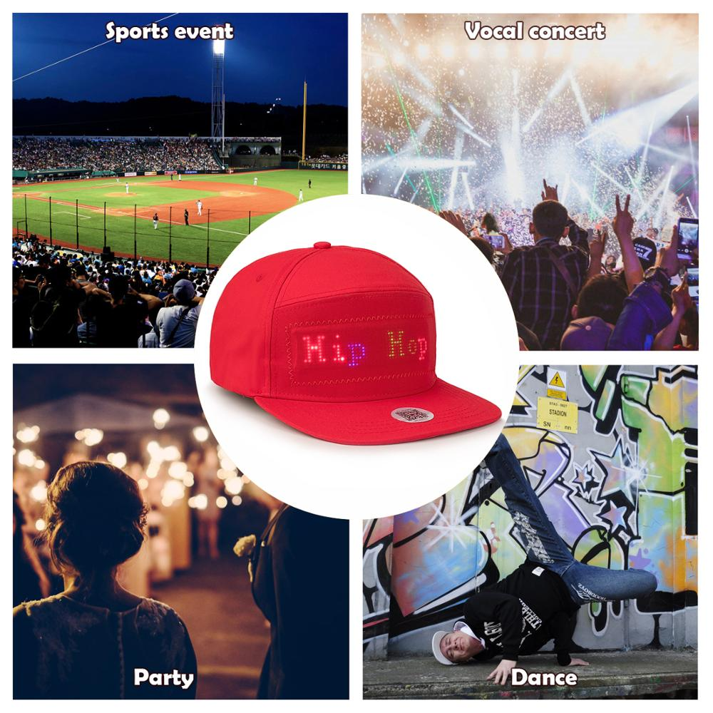 Bluetooth Fixed 4 colors Led Hat Display Board hip hop street dance party parade sunscreen hiking night running fishing cap