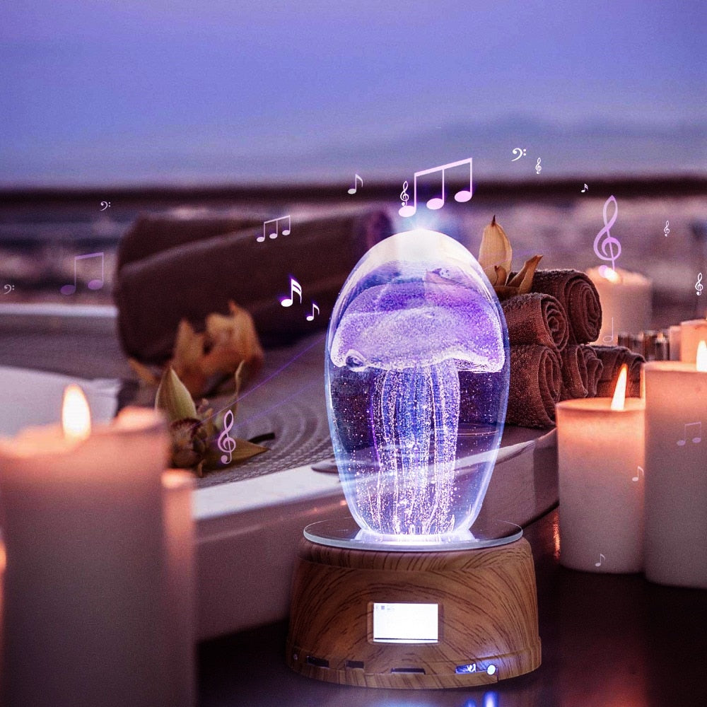 Creative Jellyfish Table Lamp Bluetooth Speaker Rotating Lighting Base Music Box For Room Decor