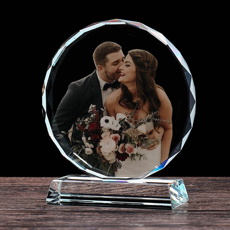 UNTSMART Wedding Gifts Personalized Custom Crystal Photo Frame for Birthday Anniversary Gifts