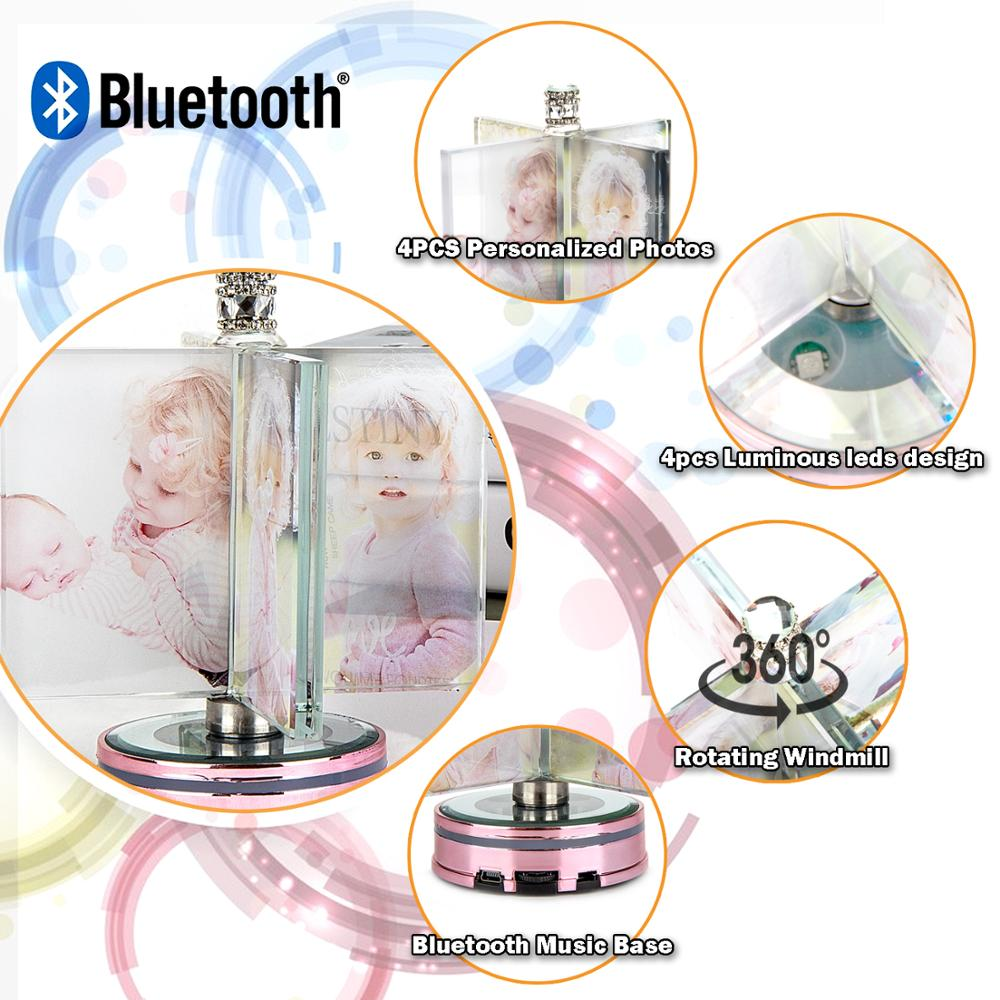 UNTCENT Custom Crystal Photo Rotating Bluetooth Music Album Windmill for Wedding Anniversary Gifts