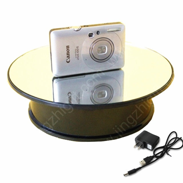 20cm High speed low speed Mirror Glass Top Rotating Rotary Display Stand Electric Turntable Show Holder For Watch Jewelry camera - Leadleds