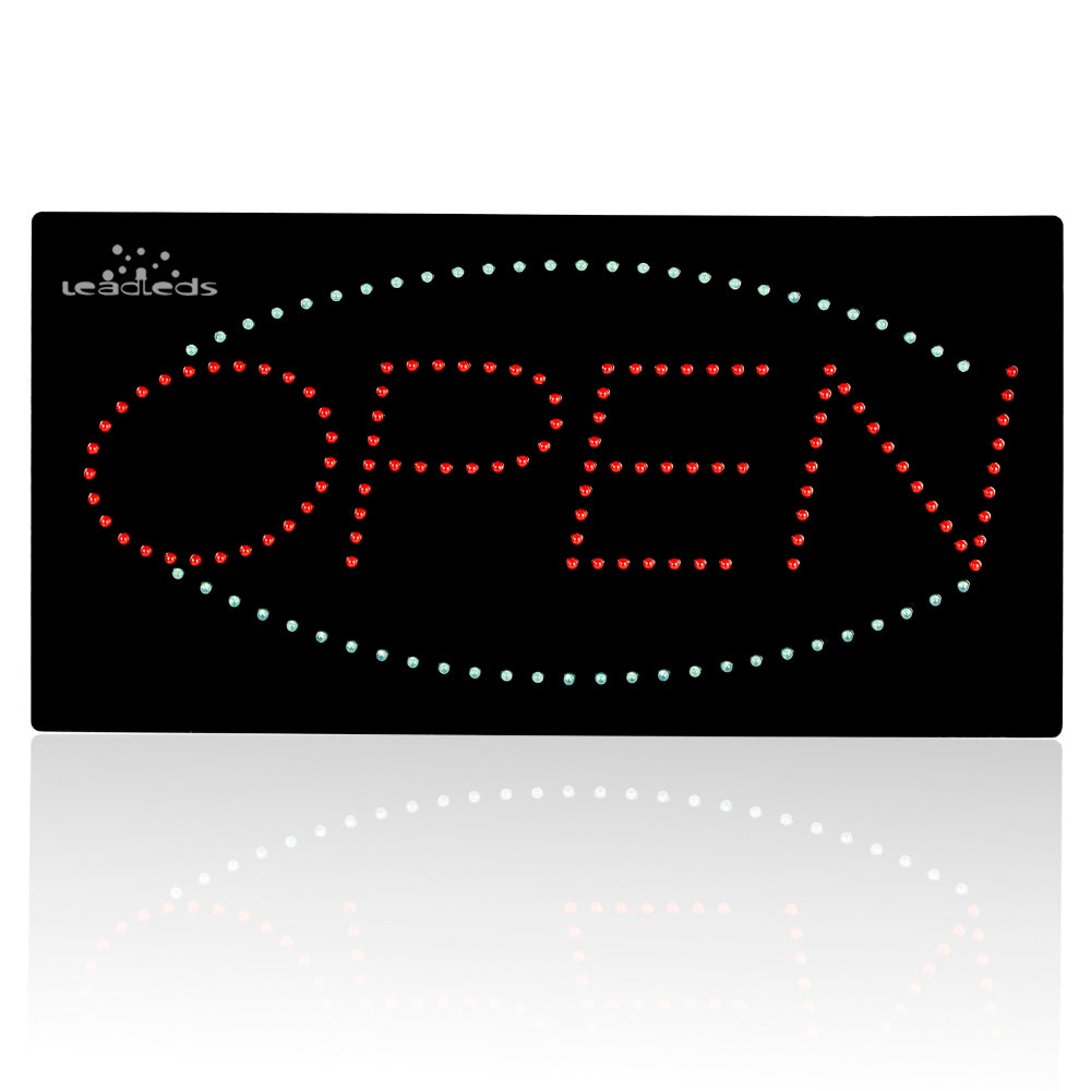 Leadleds Neon Sign Red and Blue Light Flashing Open Sign, 19 x 10 in - Leadleds