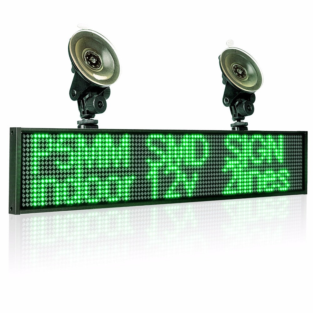 50cm P5mm Wifi Indoor LED Sign panel,12v Car Scrolling Ad Message board Green SMD display screen Support iOS phone input 2 sucker - Leadleds