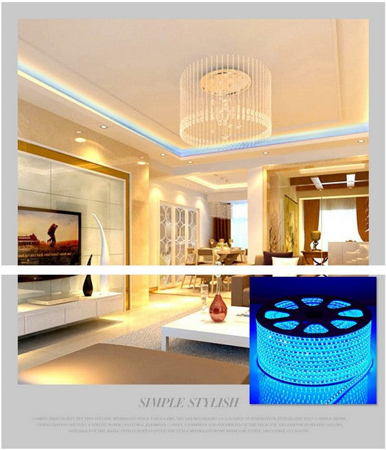 5M SMD5050 300 leds IP65 Waterproof LED strip light ribbon 220V flexible 60led/m tape warm white/blue/red/yellow/RGB outdoor led - Leadleds