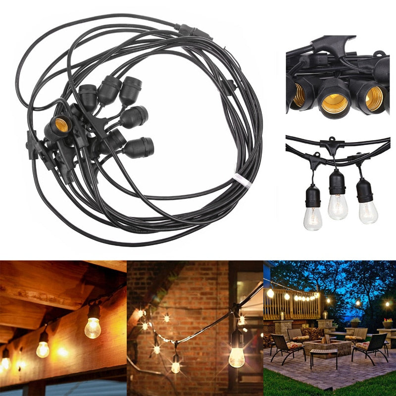 15m Outdoor LED String Lights Waterproof Commercial 2W E26 E27 Retro Edison Filament Bulb for Street Porch Garden Holiday Light - Leadleds