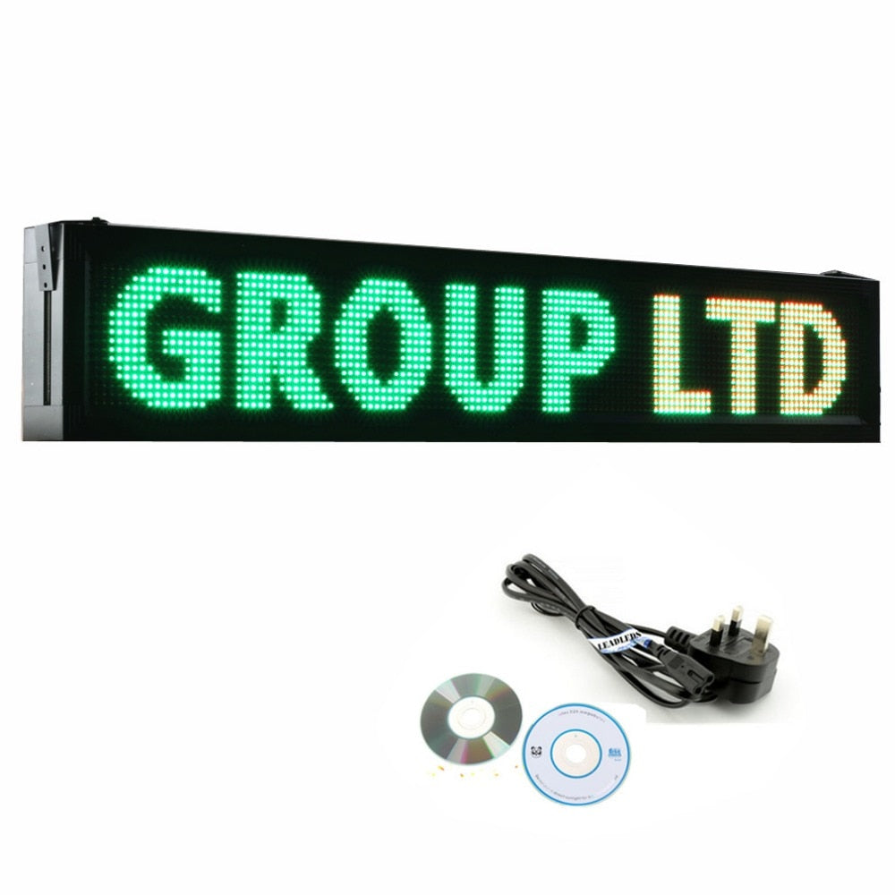 41 X 9.5 inches P10 Outdoor RGY Tri-color LED Sign Board Waterproof Programmable Display Scrolling Advertising Business - Leadleds