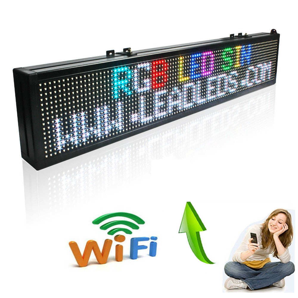 "Leadleds Full Color Led Message Board 16 x 128 Pixel Programmable by Phone WiFi, 40"" x 6"" - Leadleds"