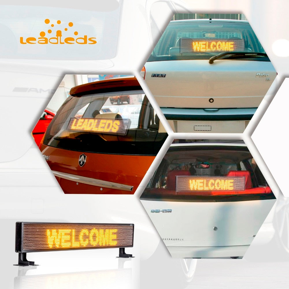 Car Rear Window Led Sign Electronic Banner Amber Message with 9FT Cable, DC9v-36v - Leadleds