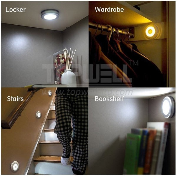Magnetic Infrared IR Wall lamps Anywhere Bright Motion Sensor led Auto On/Off nightlight Battery Operated Hallway Pathway Closet - Leadleds