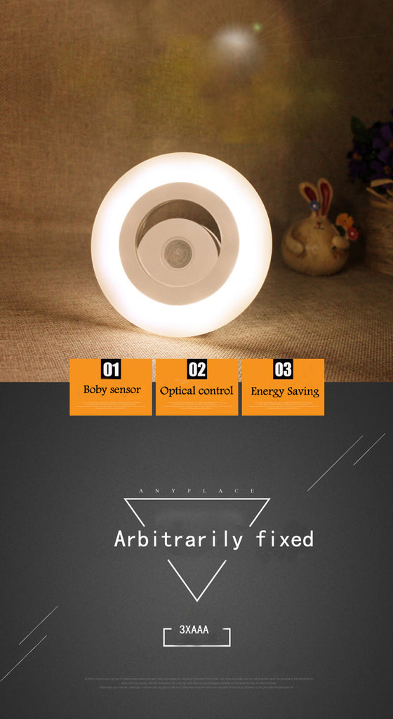 3 X AAA Motion sensor LED night light bedroom body auto On/Off workshops hallway closet stairs wall garden indoor decor lighting - Leadleds
