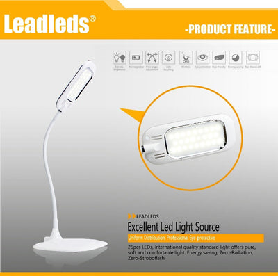 Fashion Gooseneck LED Desk Lamp Smart Touch Control Switch Portable Reading Lamp With 3 Level Dimmer Table Lamp Office light - Leadleds
